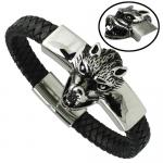 Black Braided Leather Bracelet with Wolf Head and Magnetic Clasp