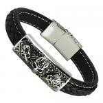 Biker Leather Bracelet with Skull Steel Bar and Magnetic Clasp