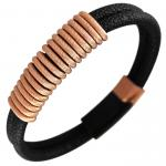Men Leather and Rose Gold Wire Cable Spiral link Bracelet