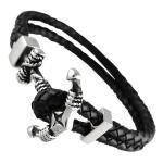 Double Leather Nautical Anchor Bracelet