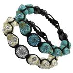 Tibetan Macrame Bracelet with Jeweled Eyes Purple Skull Bead