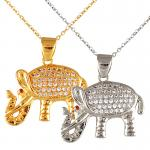 Stainless Steel Necklace with Jewel Encrusted Elephant Pendant