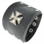 Black Leather Choppers Cross Bracelet