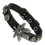 Black Leather Bracelet with Marijuana Charm