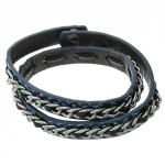 Blue Leather Strap Around Bracelet with Brass Chain