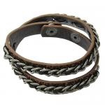 Brown Leather Strap Around Bracelet with Brass Chain