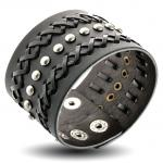 Black Leather Bracelet with Woven and Rivets