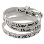 Wrap around White Smoke leather bracelet with Inspirational Words