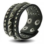 Black Leather Bracelet w/ Diamond Shaped Pyramid Stud Design