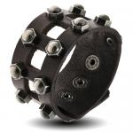 Black Leather Cuff Bracelet w/ Hex Nut Studs and Square Cutouts