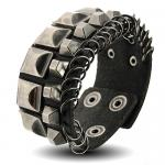 Black Leather Bracelet w/ Ancient Silver Toned Square Shaped Studs and Fastened Hoops