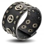 Peace Black Leather Bracelet