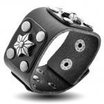 Black Leather Bracelet with Star Rivets