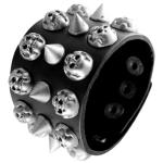 Black Leather Cuff Bracelet Designed with Spikes and Embossed Skull and Crossbones
