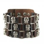 Brown Leather Skull Bracelet