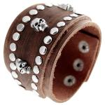 Distressed Brown Studded Leather Cuff Bracelet with Skull Rivets
