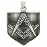 Stainless Steel Silver Masonic Square and Compass Pendant