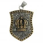 Two Tone Stainless Steel Crown Pendant