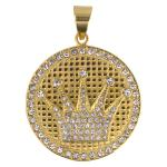 Stainless Steel Gold PVD Crown Pendent with CZ Stones