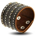 Brown Leather Bracelet with Rivets