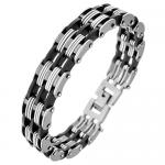 Double Link Stainless Steel and Rubber Bracelet