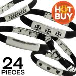 Black Rubber Bracelet w/ Stainless Steel ID Accent Pack 24pcs $1.00 a Piece