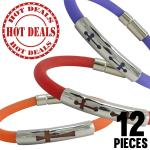 Colorful Rubber Bracelet w/ Stainless Steel ID Accent Pack 12pcs $1.50 a Piece
