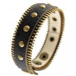 Black Synthetic Leather Bracelet Designed with Ancient Gold Tone Studs and Zippers