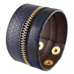 Navy Blue Synthetic Leather Bracelet with Zipper and Snake Skin Design